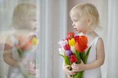 Adorable toddler girl with tulips by the window Stock Photography