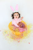 Adorable toddler girl wearing bunny ears. At Easter time Royalty Free Stock Photography