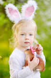 Adorable toddler girl wearing bunny ears on Easter day Royalty Free Stock Photography