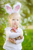 Adorable toddler girl wearing bunny ears on Easter Royalty Free Stock Photography
