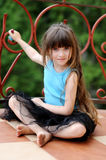 Adorable Toddler Girl With Very Long Dark Hair Stock Images