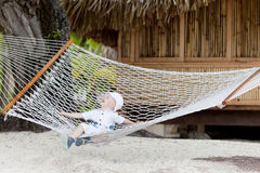 Adorable toddler in a hammock Royalty Free Stock Image