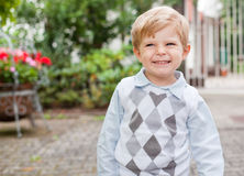 Adorable toddler on way to  kindergarten Royalty Free Stock Images
