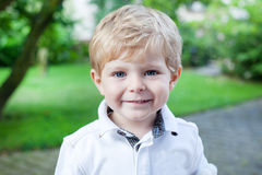 Adorable toddler on way to  kindergarten Stock Images
