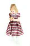 Adorable toodler girl with small gift box in hands Royalty Free Stock Photo