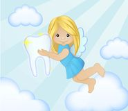 Adorable tooth fairy in the sky illustration Stock Photos