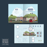 Adorable town scenery half-fold brochure template Royalty Free Stock Image