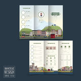 Adorable town scenery tri-fold brochure template Royalty Free Stock Photo