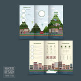 Adorable town scenery tri-fold brochure template Royalty Free Stock Photography