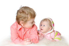 Adorable two children - sister and brother Royalty Free Stock Images