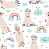 Adorable unicorn, rainbows and clouds seamless pattern stock illustration