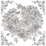 Adorable unicorn and roses background Stock Photography