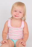 Adorable unsatisfied girl sit and cry Stock Photography