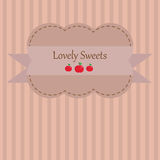 Adorable vintage styled background sticker with apples and stripes Stock Images