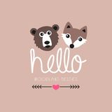 Adorable vintage woodland animals fox and bear Royalty Free Stock Image