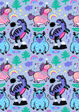 Adorable wallpaper in the childish style with unicorn, yeti, dino. Seamless pattern with cute pink unicorn, blue yeti, violet dinosaur and little hand drawn Stock Photography