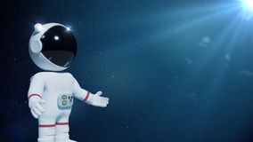 3d cartoon astronaut character presenting an empty space lit by the Sun and the stars 3d illustration. Adorable white human person presenting an empty space Stock Photography