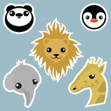 Adorable wild animals stickers. Isolated Royalty Free Stock Photography
