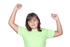 Adorable winner girl. Isolated on white background Royalty Free Stock Image