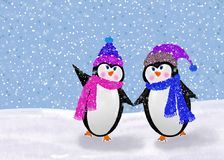 Adorable Winter Penguins Stock Photo