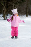 Adorable winter small girl in glasses Stock Image