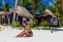 Adorable woman at beach during Caribbean vacation Stock Image