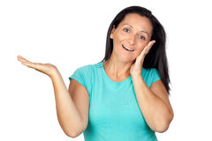 Adorable woman with blue t-shirt saying Stock Photo