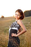 Adorable woman in field Royalty Free Stock Photo
