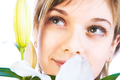 Adorable woman with flowers Royalty Free Stock Photos