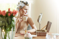 Adorable woman prepraring herself for a party Royalty Free Stock Image