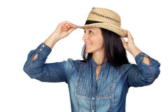 Adorable woman with straw hat Stock Image