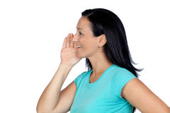Adorable woman whispering Stock Images