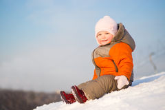 Adorable Wondered Baby Sit On Top Of Mountain Royalty Free Stock Images