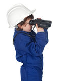 Adorable worker child with binoculars Stock Image