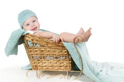 Little girl sitting in a sleigh royalty free stock photo