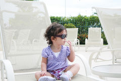 Adorable young baby girl wearing sunglasses Royalty Free Stock Images