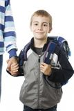 Adorable young boy going to school with his father Stock Photo