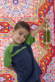 Adorable Young Boy with Ramadan Lantern in Hand Stock Photography