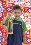 Adorable Young Boy with Ramadan Lantern Stock Photos