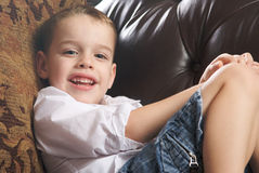 Adorable Young Boy Smiles royalty free stock photography