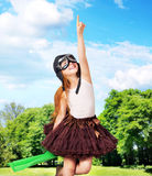 Adorable young girl as a pilot Royalty Free Stock Image