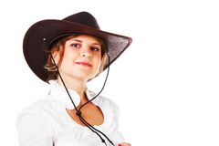 Adorable young girl in cowboy hat Stock Images
