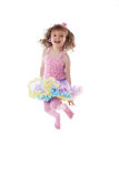 Adorable young girl posing jumping in studio Stock Images