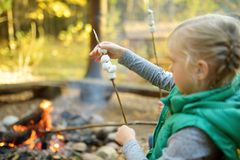 Adorable young girl roasting marshmallows on stick at bonfire. Child having fun at camp fire. Camping with children in fall forest. Family leisure with kids at royalty free stock photo