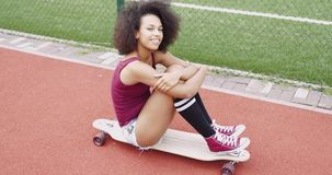 Adorable young girl on skate stock video footage