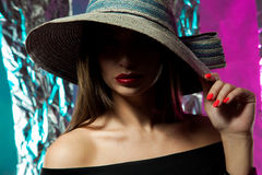 Adorable young lady with red lips Royalty Free Stock Photography