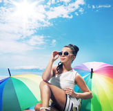 Adorable young lady taking a sunbath Stock Photography