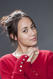Adorable young multi-ethnic woman smiling for seduction Royalty Free Stock Photography
