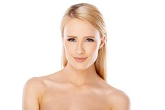 Adorable young woman over white Royalty Free Stock Photo