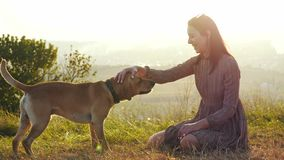 Adorable young woman playing with dog on the nature during amazing sunset.